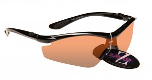 RAYZOR VYZORS: BLACK FRAMED SPORTS SUNGLASSES WITH A 1 PIECE CLEAR AMBER LIGHT ENHANCING LENS.
