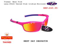 RAYZOR FINZ: PINK FRAMED SPORTS SUNGLASSES WITH A UV400 VENTED PINK IRIDIUM ANTI GLARE LENS