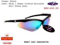 WINDSHIELDZ: RAYZOR BLACK FRAMED SPORTS SUNGLASSES WITH A BLUE IRIDIUM MIRRORED ANTI GLARE LENS.