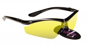 RAYZOR VYZORS: BLACK FRAMED SPORTS SUNGLASSES WITH A 1 PIECE CLEAR YELLOW LIGHT ENHANCING LENS