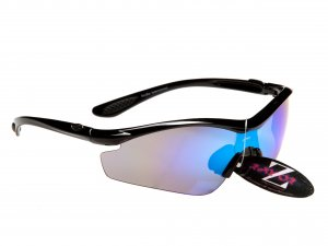 RAYZOR VYZORS: BLACK FRAMED SPORTS SUNGLASSES WITH A 1 PIECE BLUE IRIDIUM MIRRORED LENS