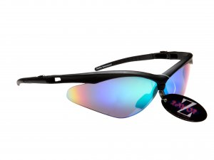 WINDSHIELDZ: RAYZOR BLACK FRAMED SPORTS SUNGLASSES WITH A BLUE / GREEN IRIDIUM MIRRORED ANTI GLARE LENS.