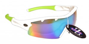 VENTZ: RAYZOR WHITE FRAMED SPORTS SUNGLASSES WITH A 1 PIECE VENTED BLUE / GREEN IRIDIUM MIRRORED ANTI GLARE LENS.