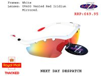 RAYZOR VYZORS: WHITE FRAMED SPORTS SUNGLASSES WITH A 1 PIECE VENTED RED IRIDIUM MIRRORED LENS.