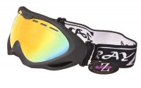 RayZor Black Framed Goggles With an Anti Fog Gold Iridium Mirrored Vented Double Lens.
