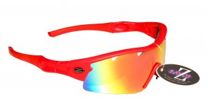 VENTZ: RAYZOR RED FRAMED SPORTS SUNGLASSES WITH A 1 PIECE VENTED RED IRIDIUM MIRRORED ANTI GLARE LENS.