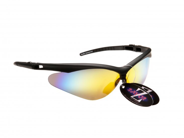 WINDSHIELDZ: RAYZOR BLACK FRAMED SPORTS SUNGLASSES WITH A GOLD IRIDIUM MIRRORED ANTI GLARE LENS. - Click Image to Close