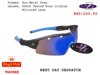 RAYZOR GUN METAL GREY FRAMED SPORTS SUNGLASSES WITH A 1 PIECE VENTED BLUE IRIDIUM MIRRORED ANTI GLARE LENS.
