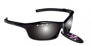 RAYZOR FINZ: BLACK FRAMED SPORTS SUNGLASSES WITH A UV400 VENTED SMOKED MIRRORED ANTI GLARE LENS
