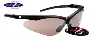 BLACK FRAMED SPORTS SUNGLASSES WITH A WINDSHIELD SMOKED LENS