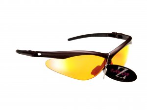 WINDSHIELDZ: RAYZOR DARK RED SPORT SUNGLASSES WITH A CLEAR ORANGE LIGHT ENHANCING ANTI GLARE LENS.