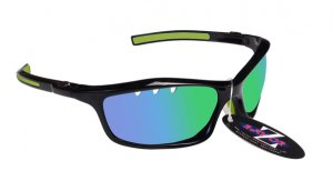 RAYZOR FINZ: BLACK FRAMED SPORTS SUNGLASSES WITH A UV400 VENTED BLUE GREEN IRIDIUM MIRRORED ANTI GLARE LENS