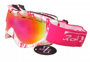 RayZor Pink Camouflaged Framed Goggle With an Anti Fog Pink Iridium Mirrored Vented Double Lens.