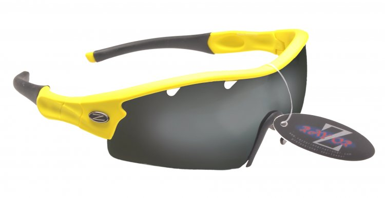 VENTZ: RAYZOR YELLOW FRAMED SPORT SUNGLASSES WITH A 1 PIECE VENTED SMOKED MIRRORED ANTI GLARE LENS - Click Image to Close