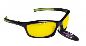 RAYZOR FINZ: BLACK FRAMED SPORTS SUNGLASSES WITH A UV400 VENTED CLEAR YELLOW LIGHT ENHANCING ANTI GLARE LENS