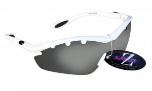 RAYZOR VYZORS: WHITE FRAMED SPORTS SUNGLASSES WITH A 1 PIECE SMOKED MIRRORED LENS.