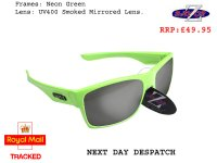 RAYZOR WAYVZ: NEON GREEN FRAMED SPORTS SUNGLASSES WITH A UV400 SMOKED MIRRORED ANTI GLARE LENS