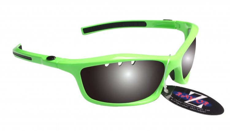 RAYZOR FINZ: NEON GREEEN FRAMED SPORTS SUNGLASSES WITH A UV400 VENTED SMOKED MIRRORED ANTI GLARE LENS
