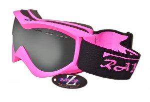 RayZor Bright Pink Neon Framed Goggle With an Anti Fog Smoked Mirrored Vented Lens.