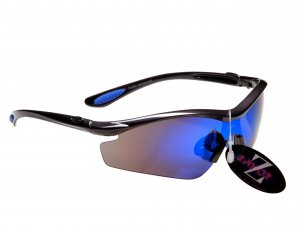 RAYZOR VYZORS: GUNMETAL GREY FRAMED SPORTS SUNGLASSES WITH A 1 PIECE BLUE IRIDIUM MIRRORED SPORTS LENS