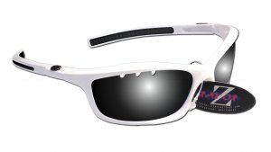 RAYZOR FINZ: WHITE FRAMED SPORTS SUNGLASSES WITH A UV400 VENTED SMOKED MIRRORED ANTI GLARE LENS