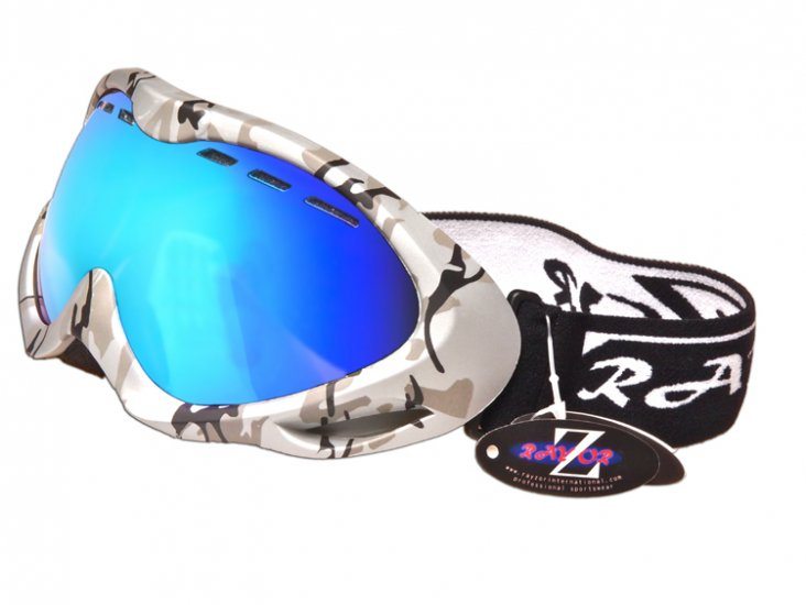 RayZor Silver Camouflage Frame With Anti Fog Blue Iridium Mirrored Vented Double Lens. - Click Image to Close
