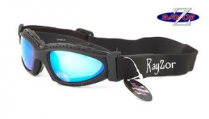 RayZor Black 2 In1 Goggle Sunglasses with Blue Iridium Mirrored Lens.