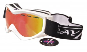 RayZor White Framed Goggle With An Anti Fog Red Iridium Mirrored Vented Lens.