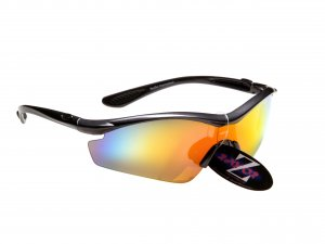 RAYZOR VYZORS: GUNMETAL GREY FRAMED SPORTS SUNGLASSES WITH A 1 PCE RED IRIDIUM MIRRORED SPORTS LENS