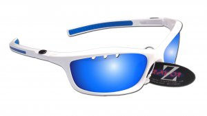 RAYZOR FINZ: WHITE FRAMED SPORTS SUNGLASSES WITH A UV400 VENTED BLUE MIRRORED ANTI GLARE LENS