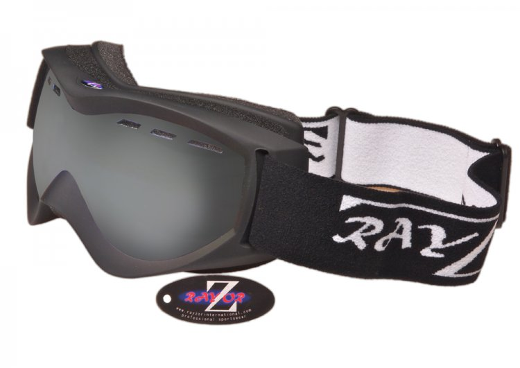 RayZor Black Framed Goggles With an Anti Fog Smoke Mirrored Vented Double Lens. - Click Image to Close