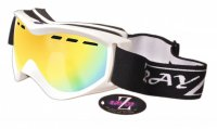 RayZor White Framed Goggle With An Anti Fog Gold Iridium Mirrored Vented Double Lens.
