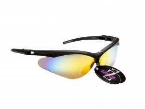 WINDSHIELDZ: RAYZOR BLACK FRAMED SPORTS SUNGLASSES WITH A GOLD IRIDIUM MIRRORED ANTI GLARE LENS.