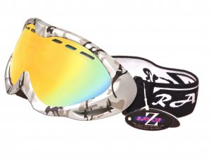 RayZor Silver Camouflage Frame With Anti Fog Gold Iridium Mirrored Vented Double Lens.