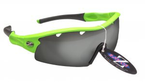 RAYZOR NEON GREEN FRAMED SPORT SUNGLASSES WITH A 1 PIECE VENTED SMOKED MIRRORED ANTI GLARE LENS