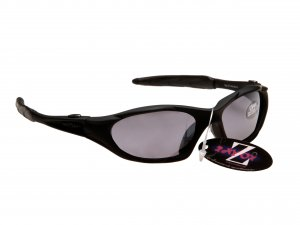 RAYZOR BLAZE: BLACK FULL FRAMED SPORTS SUNGLASSES WITH A SMOKED MIRRORED ANTI GLARE LENS