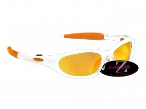 RAYZOR BLAZE: WHITE FULL FRAMED SPORTS SUNGLASSES WITH AN ORANGE IRIDIUM MIRRORED ANTI GLARE LENS