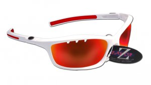 RAYZOR FINZ: WHITE FRAMED SPORTS SUNGLASSES WITH A UV400 RED IRIDIUM MIRRORED VENTED ANTI GLARE LENS