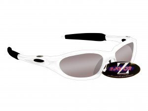 RAYZOR BLAZE: WHITE FULL FRAMED SPORTS SUNGLASSES WITH A SMOKED MIRRORED ANTI GLARE LENS
