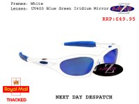 RAYZOR BLAZE: WHITE FRAMED SPORTS SUNGLASSES WITH A UV400 BLUE IRIDIUM MIRRORED ANTI GLARE LENS