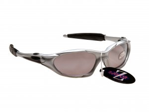 RAYZOR BLAZE: SILVER FULL FRAMED SPORTS SUNGLASSES WITH A SMOKED MIRRORED ANTI GLARE LENS