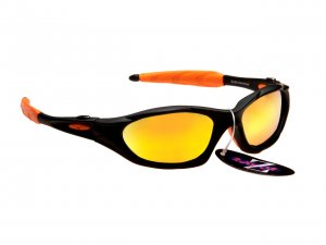 RAYZOR BLAZE: BLACK FULL FRAMED SPORTS SUNGLASSES WITH AN ORANGE IRIDIUM MIRRORED ANTI GLARE LENS