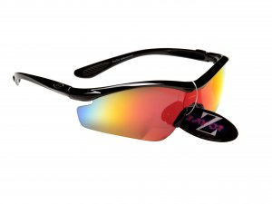 RAYZOR VYZORS: BLACK FRAMED SPORTS SUNGLASSES WITH A 1 PIECE BURNT RED IRIDIUM MIRRORED LENS.