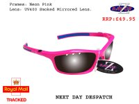 RAYZOR FINZ: PINK FRAMED SPORTS SUNGLASSES WITH A UV400 VENTED SMOKED MIRRORED ANTI GLARE LENS