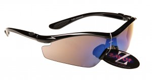 RAYZOR VYZORS: BLACK FRAMED SPORTS SUNGLASSES WITH A 1 PIECE SMOKED BLUE LENS.