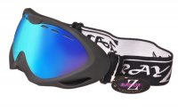 RayZor Black Framed Goggles With an Anti Fog Blue Iridium Mirrored Vented Double Lens.