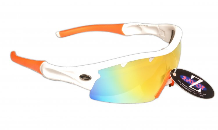 VENTZ: RAYZOR WHITE FRAMED SPORTS SUNGLASSES WITH A 1 PIECE VENTED ORANGE IRIDIUM MIRRORED ANTI GLARE LENS. - Click Image to Close