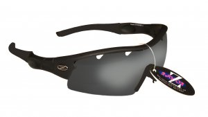 VENTZ:.... RAYZOR BLACK FRAMED SPORTS SUNGLASSES WITH A 1 PIECE VENTED SMOKE MIRRORED ANTI GLARE LENS.