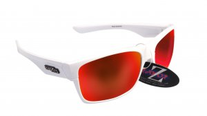 RAYZOR WAYVZ: WHITE FRAMED SPORTS SUNGLASSES WITH A UV400 RED IRIDIUM MIRRORED ANTI GLARE LENS