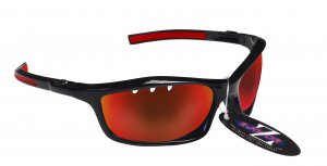 RAYZOR FINZ: BLACK FRAMED SPORTS SUNGLASSES WITH A UV400 VENTED RED IRIDIUM MIRRORED ANTI GLARE LENS